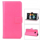 Protective PU Leather Holder Case w/ Card Slot for HTC M7 - Deep Pink