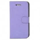 Silk Style Protective PU Leather + Plastic Case for Iphone 4 / 4S - Purple