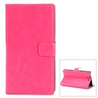 Protective PU Leather Flip-open Holder Case w/ Card Slot for Sony L36h - Deep Pink