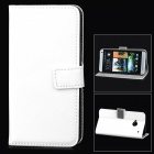 Protective PU Leather Flip-open Holder Case for HTC M7 - White