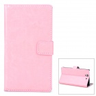 Protective PU Leather Flip-open Holder Case for Sony L36h - Pink
