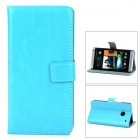 Protective PU Leather Flip-open Holder Case for HTC M7 - Blue