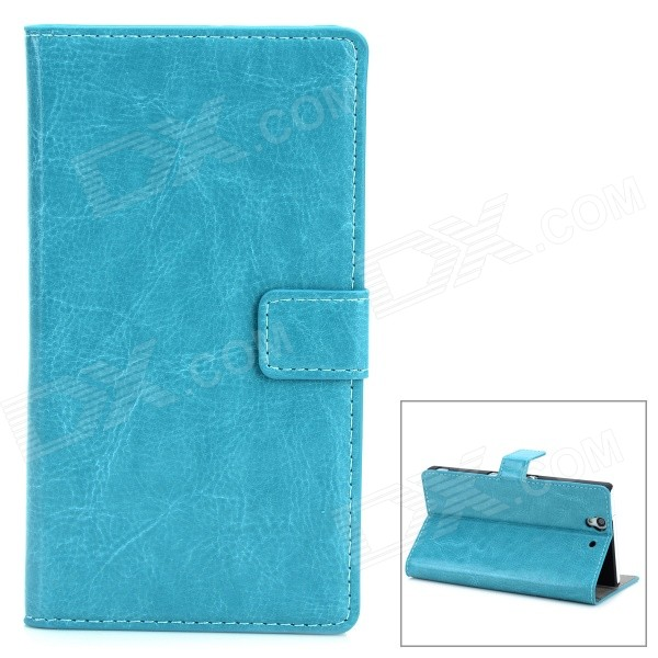 Protective PU Leather Flip-open Holder Case for Sony L36h - Greenish Blue сотовый телефон fly fs512 nimbus 10 black
