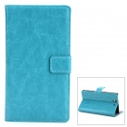 Protective PU Leather Flip-open Holder Case for Sony L36h - Greenish Blue