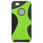 2-in-1 Detachable Plastic Back Case for Iphone 5 - Black + Green