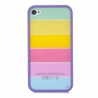 Ultradünne Bunte Schutzfolie + TPU Case für iPhone 4 / 4S - Purple + Multicolor