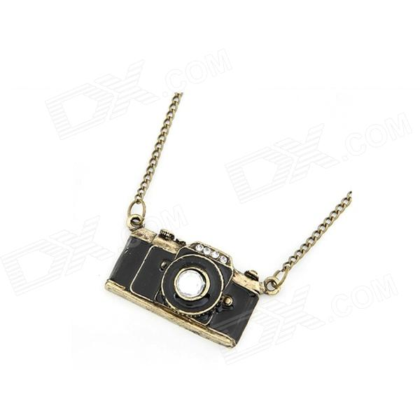 Dominate Solid Camera Sweater Chain Women's Necklace - Bronze + Black