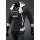 Stylish Slim Fit Inclined Zipper Cardigan for Men - Deep Grey (Size-XXL)