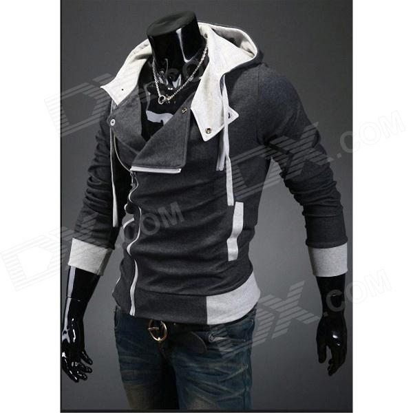 Stylish Slim Fit Inclined Zipper Cardigan for Men - Deep Grey (Size-M)