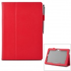 Stylish Flip-open PU Leather Case w/ Stylus + Card Slot + Holder for ASUS MeMo Pad FHD 10 (ME302C)