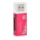DKQ-8 High Speed ​​USB 2.0 SD / SDHC / TF MicroSD / Mini SD Card Reader - Wine Red (max. 32GB)