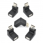 90 Degree Angle USB 2.0 Male to Female Adapters - Black (5 PCS)