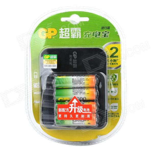 GP GPPB03GW 4-Slots AA / AAA Battery Charger w/ 2600mAh AA Ni-MH Batteries - Black (100~240V) gp 270aahc x 4