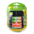 GP GPPB03GW 4-Slots AA / AAA Battery Charger w/ 2600mAh AA Ni-MH Batteries - Black (100~240V)