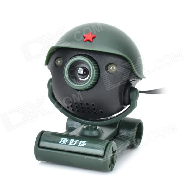 G2 540 Degree Rotation Soldier Style 8.0 MP Camera w/ 2-LED / Microphone - Green + Black