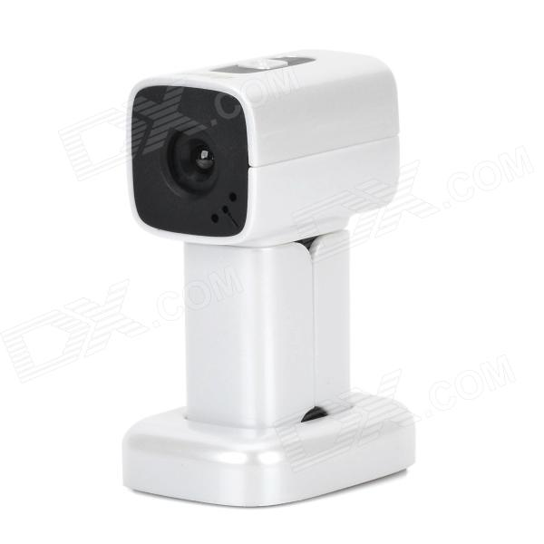 360 Degree Rotation Wide Angle 12 MP HD USB Camera w/ Microphone - Silver White + Black