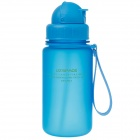 UZSPACE High-quality Leak-proof Frosted Bottle With Straw - Blue (350ml)