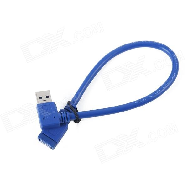 ULT-Unite ULT-3237 Right Angle USB 3.0 Male to Female Data Transmission Extender Cable - Blue (30cm) usb 2 0 type b male to female m f extension data cable panel mount for printer cable with screw hole 30cm 1ft