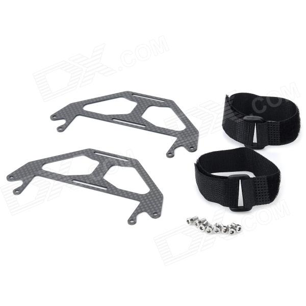 Carbon Fiber Dual-Battery Mount Extension Plates w/ Velcro Band for DJI Phantom - Black