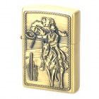 LiTian 01A Knight Pattern Copper Zinc Alloy Yellow Flame Kerosene Oil Lighter - Bronze