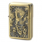 LiTian 01A Skull Pattern Copper Zinc Alloy Yellow Flame Kerosene Oil Lighter - Bronze