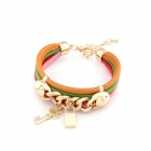 Fashionable Characteristic Key and Lock Style Multilayer PU Leather Bracelet - Multicolored
