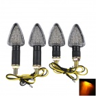 A-1308 Waterproof 2W 112lm 18-LED Yellow Light Motorcycle Turn Signals Lamps - Black (12V / 4 PCS)
