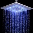 "10"" Temperature Visualizer 12-LED RGB Color Changing Brass Square Top Shower Head - Silver"