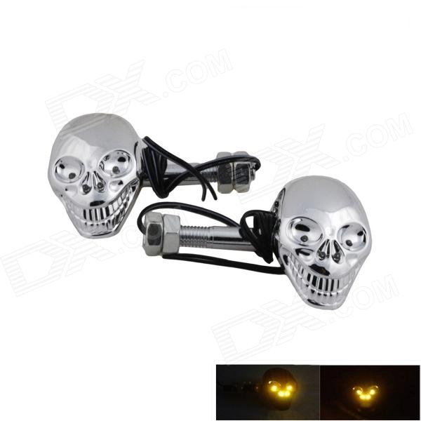 DTY Skull Style 4-LED Decorative Lamp Sticker for Motorcycles - Silver (2 PCS) skull head style 1w 4 led 60lm yellow light motorcycle steering lamps silver 12v