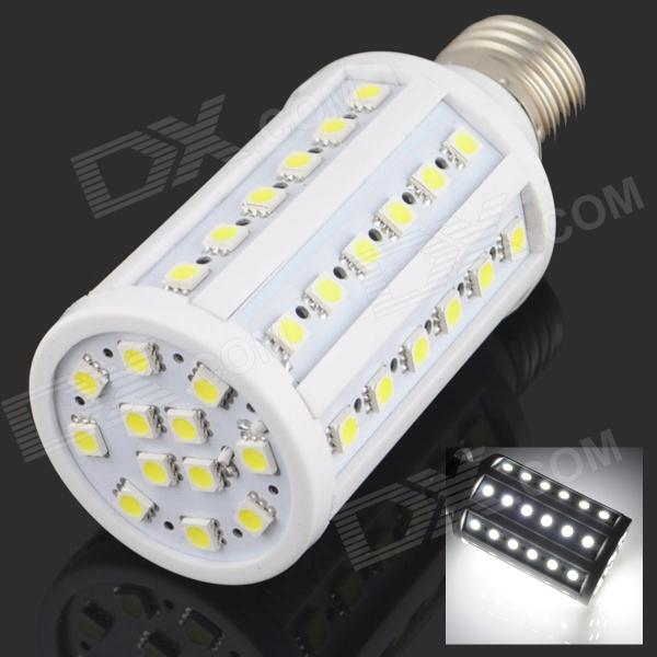 E27 10W 1000LM 9000K 60-SMD 5050 LED Cool White Bulb - White + Silver (AC 85-265V)E27<br>Brand N/A Material Plastic + aluminum Color White Quantity 1 Emitter Type SMD 5050 LED Total Emitters 60 Power 10 W Color BIN Cool White Rate Voltage 85-265 V Chip Working Voltage 3.2~3.4V Luminous Flux 900~1000 lm Color Temperature 7000-9000 K Wavelength NO nm Connector Type E27 Packing List 1 x LED light bulb<br>