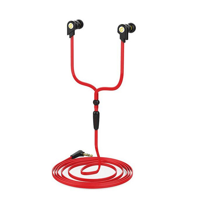 Syllable G02I-001 In-Ear Earphones w/ Microphone / Cable Control for Iphone + More - Black + Red fashion professional in ear earphones light blue black 3 5mm plug 120cm cable