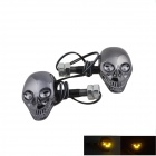 DIY Skull Style 1W 60lm 4-LED Yellow Light Decorative Lamp Stickers for Motorcycle - (12V / 2 PCS)