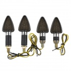 A-1308 Waterproof 2W 112lm 18-LED Yellow Light Motorcycle Turn Signals Lamp - Silver (12V / 4PCS)