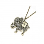 Fashionable Vintage Engraving Elephant Style Sweater Chain Women's Necklace - Bronze