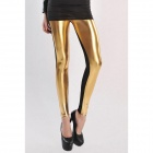 Dear Lover 79306 High Waist Artificial Leather Legging - Black + Golden