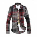 Men's British Style Plaid Shirt - Red + Grey (Size L)