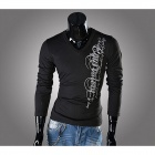 Men's Slim Printed V-Neck T-shirt - Black (Size L)