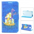 Glow-in-the-Dark Protective Plastic Back Case w/ Card Slots for Samsung Note 3 - Blue + Multicolored