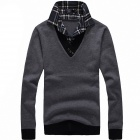 Casual False Two-Piece Sweater - Deep Gray (XL)