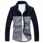 Men's Slim Cotton Shirt - Blue + Gray (L)