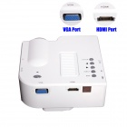 Portable LED Projector w/ HDMI, VAG, USB 2.0, AV, SD, RC - White (US Plugs)