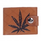 WEIJUESHI Fashion Hemp Leaf Pattern PU Leather Men's Wallet w/ 4 Card Port - Brown