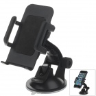 "H01 180 Degree Rotation Suction Cup Holder w/ C65 4.3~5.1"" Back Clip - Black"