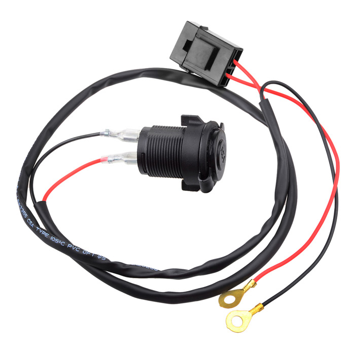 Waterproof Motorcycle Cigarette Lighter Charger Power Socket - Black (12V)