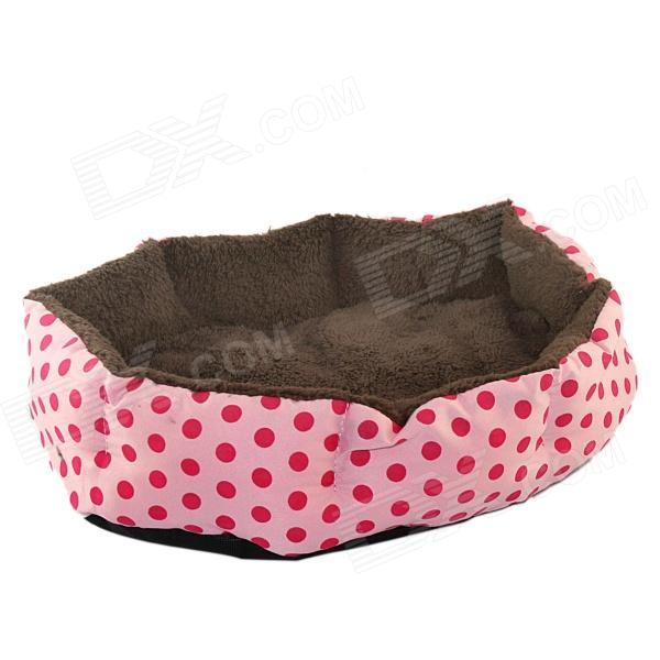 Polka Dot Plush Dog Cat Pet Nest Bed - Pink + Brown pet carrier bag for cat dog medium size brown