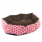 Polka Dot Plush Dog Cat Pet Nest Bed - Pink + Brown