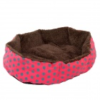 Polka Dot Plush Dog Cat Pet Nest Bed - Deep Pink + Brown