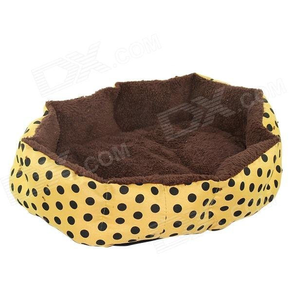 Polka Dot Plush Dog Cat Pet Nest Bed - Yellow + Brown pet carrier bag for cat dog medium size brown