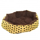 Polka Dot Plush Dog Cat Pet Nest Bed - Yellow + Brown