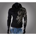Tattoo Style Slim Fit Men's Hooded Fleece -Black (Size-L)